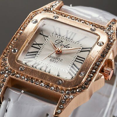 Elegant Rose Gold White Bracelet Quartz Wrist Watch Leather Strap Christmas Gift