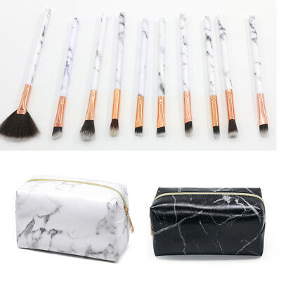 Professional 10Pcs Kabuki Marble Make Up Brush Set &Cosmetic Brushes Case Bag