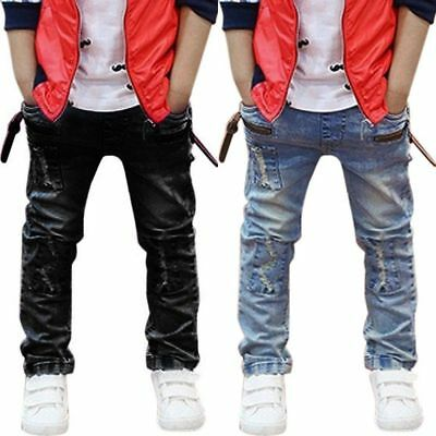 Toddler Kids Baby Boys Hole Patch Jeans Pants Child Girls Denim Trousers Bottoms