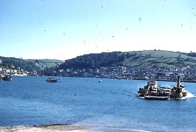 35mm SLIDE : MARITIME : OLD STEAM CAR FERRY CROSSING WEST COUNTRY RIVER 1960's