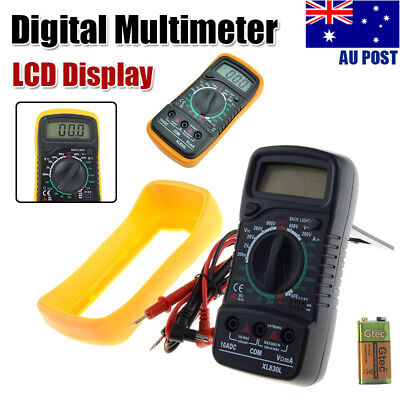 LCD Digital Multimeter Ohmmeter Yellow Multi OHM Tester AC DC Handheld Voltmeter