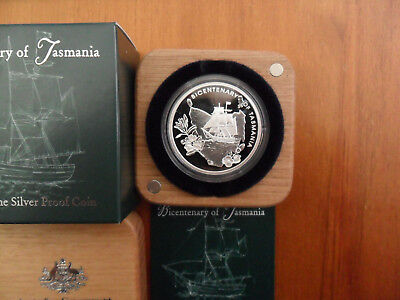 "2004 $5 Silver Proof Coin: ""Bicentenary of Tasmania."""