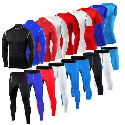 Mens Compression Top Gym Wear Under Base Layer Shirt Pants Shorts Running Tights