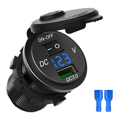QC 3.0 USB Fast Charger Socket with Voltmeter & ON/OFF Switch for Car Motorcycle