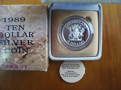 "1989 $10 Silver Proof Coin: State Series - ""Queensland."""