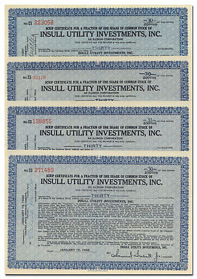 Insull Utility Investments, Inc. Stock Certificate Set of 4 Pieces