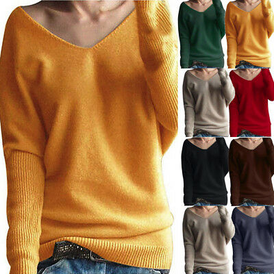 Fashion Womens Winter V Neck Sweater Casual Pullover Knitted Jumper Blouse Tops