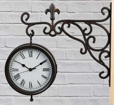 Double Sided 2 Faced Station Hanging Wall Clock With Bracket By Country Living