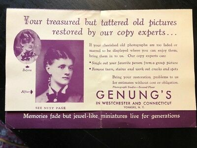 Vintage ad sheet: Genung's Photograph Studio, Yonkers, NY and CT; photo repair