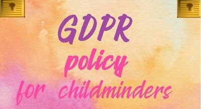 Childminding Childminder GDPR policy and privacy notice PDF Start Up Pack