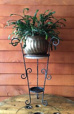 Vintage Scrolled Twisted Wrought Iron Plant Stand