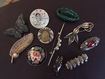 Job Lot Of Vintage Brooches, Plastics , Artisan ..
