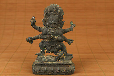antique bronze Hand carving buddha statue Figure feng shui collection home deco