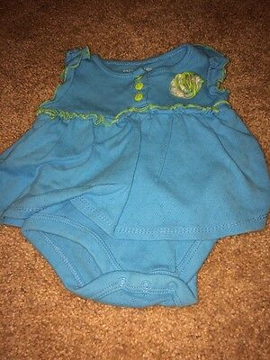 Faded Glory Infant Girls Blue Green Flower One Piece Outfit 3 -6 Months