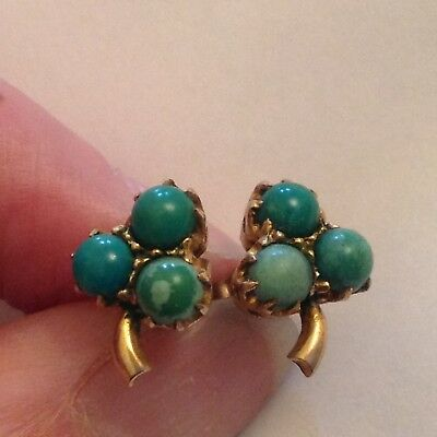 ANTIQUE 9ct GOLD AND TURQUOISE STONE EARRINGS