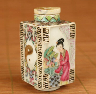 Old Rare Porcelain Hand Painting Taiji wangzhaojun Belle Statue Snuff Bottle