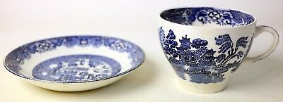 Antique English Made China Cup And Saucer-Used-Very Rare-Free Postage Europe