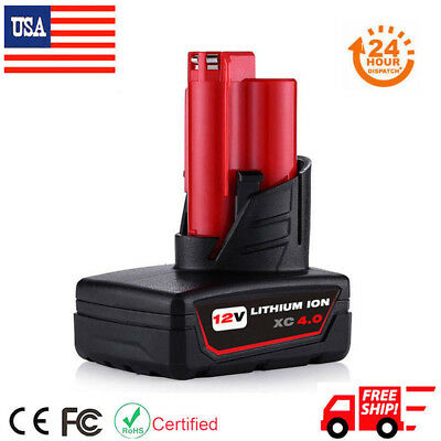 Replace For Milwaukee 48-11-2440 M12 48-11-2460 XC 4.0Ah 12V Lithium-Ion Battery