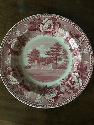 "Wedgwood Old Avery Homestead Groton, CT creamware 6"" bread plate - Red"