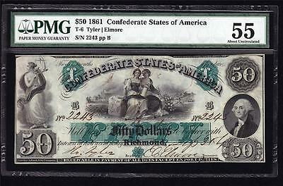 T-6 1861 $50 Military Endorsement Confederate Civil War PMG 55 About Unc