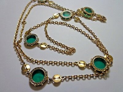 Vtg 80's Haute Couture Green Lucite Chain Flapper Necklace 52 In
