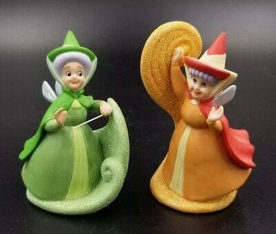 "2 Vintage 4"" Disney Fairy Figurines From Sleeping Beauty * Excellent"
