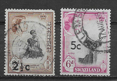 Swaziland , South Africa , 1961 , Set Of 2 Revalued  , Perf , Used