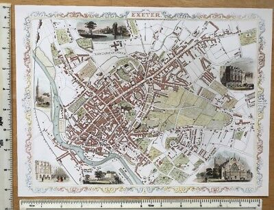 """Old Antique colour map of Exeter, England: 1800's, 1851 12"""" x 9"""" Reproduction"""