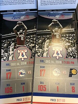 76ers SIXERS 2 TICKETS PACERS 12/14 FRIDAY NIGHT! 105 ROW 1 +PARKING&EARLY ENTRY