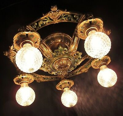 VTG DECO VICTORIAN CAST METAL SEMI FLUSH MOUNT CHANDELIER CEILING FIXTURE 1930's