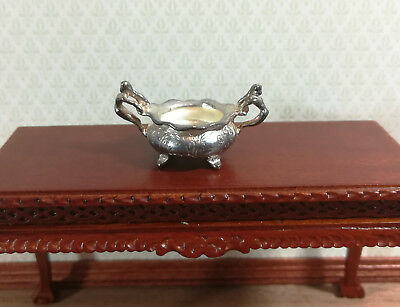 Dollhouse Miniature Silver Plated Serving Dish with Mermaid Handles 1:12 Scale