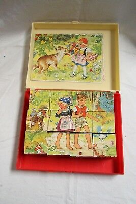 Vintage West German Wooden Block Puzzle Set By Hermann Eichhorn Fairy Tales.