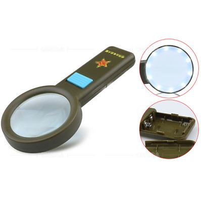 Handheld Reading Magnifier with 10 White LED Lights 10X Real Glass Magnifier