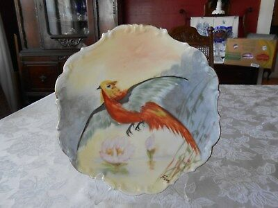 HAND PAINTED & SIGNED LIMOGES PLATE SIGNED F----- FLAMBEAU Birds FRANCE