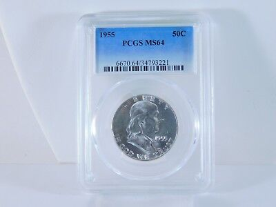 1955 PCGS MS64 50C Franklin Half Dollar Uncirculated Certified Coin EC0949