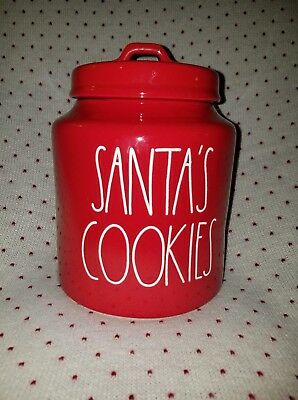 Brand New Rae Dunn HOLIDAY CHRISTMAS  RED SANTAS COOKIES kitchen Canister 🎄