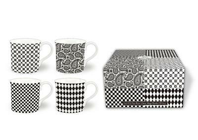 BONE CHINA MUGS SET OF 4 GIFT BOXED MUGS shades of grey  DESIGN