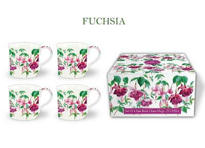 Fine Bone China Set Of 4 Gift Boxed Mugs Fuchsia Design