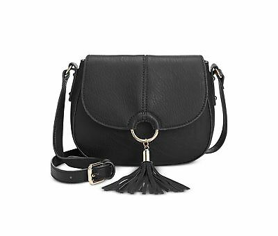 INC International Concepts Emerson Saddle Bag Black