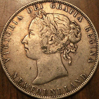 1900 Newfoundland Nfld Canada 50 Fifty Cents Sterling Silver Beautiful Example!