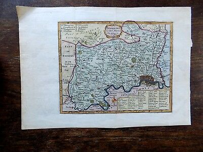 1701 Robert Morden Middlesex London Genuine Old Antique County Map Thames SCARCE