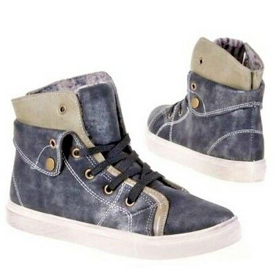 High Top Distressed Lace Up Trainers Size UK 4