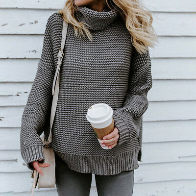 Ladies Winter Turtleneck Sweater Baggy Pullover Jumper Thick Knitted Knitwear 6A