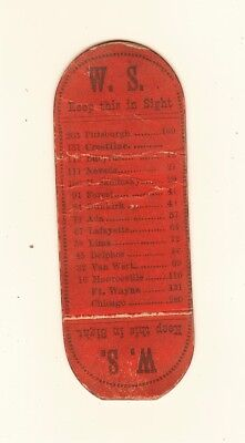 MYSTERY c 1870 Railroad Ticket - W.S. RR Ohio- Crestline Sandusky Fort Wayne etc