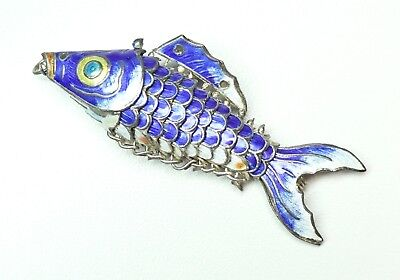 Vintage Chinese Articulated Cloisonne Koi Fish Pendant Blue White Multi Color 3""