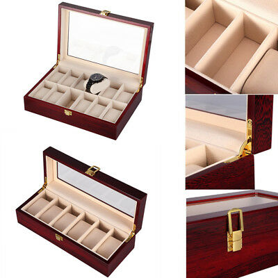6/12 Grids Wooden Watch Display Storage Box Jewelry Collection Case Holder