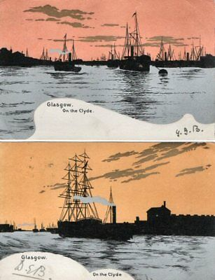 Two x 1904 Cards - Glasgow on the Clyde - Ship Silhouettes