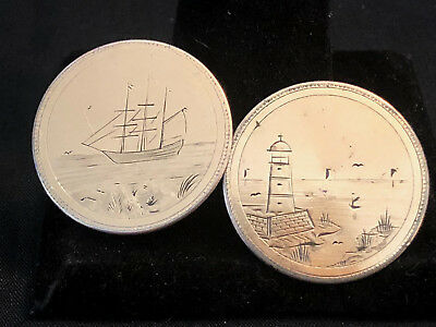 Old  Collectible Gold Plated Nautical Etched Themed Pair Of Studs For Buttons