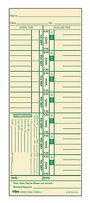 """Tops Time Cards Weekly Time Card (3-1/2"""" x 9"""") # 500-Count"""