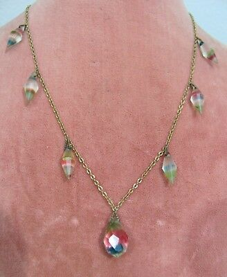 VTG 1930s IRIS GLASS BRIOLETTE & Bicone DROP ART DECO NECKLACE *BUY-IT-NOW